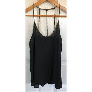 Black tank with gold straps